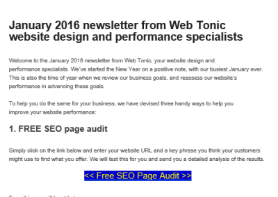 Web Tonic Newsletter screen shot