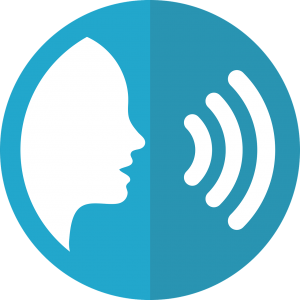 speech icon depicting online voice searches