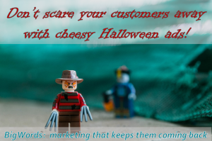 Halloween themed composite with a Lego Freddie Kruger